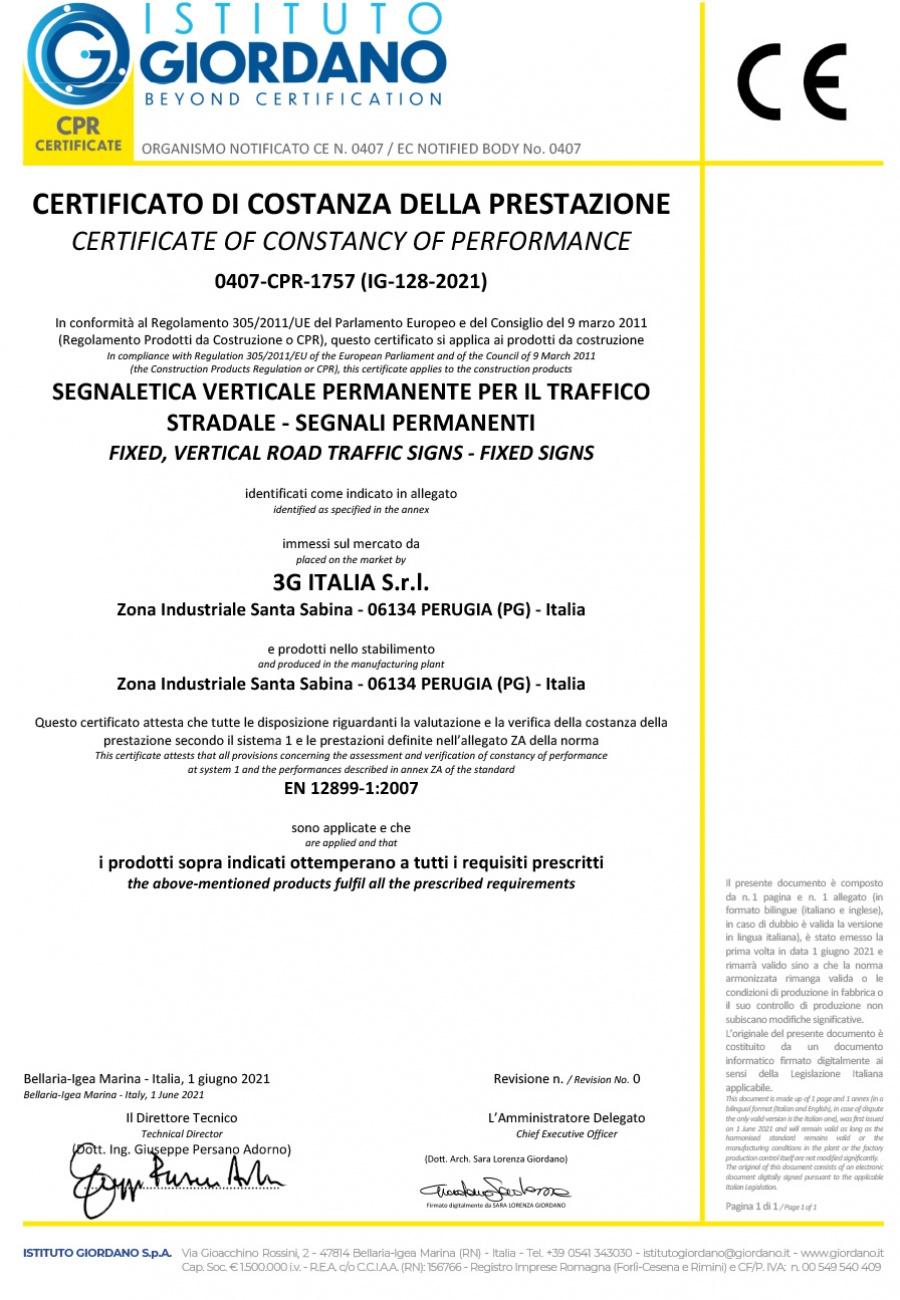 Marcatura CE Segnaletica Verticale secondo UNI EN 12899-1:2008