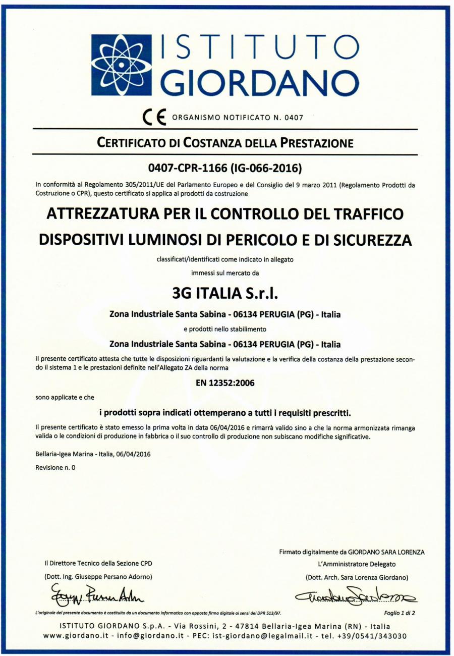 Certificato di costanza della prestazione dell'Istituto Giordano