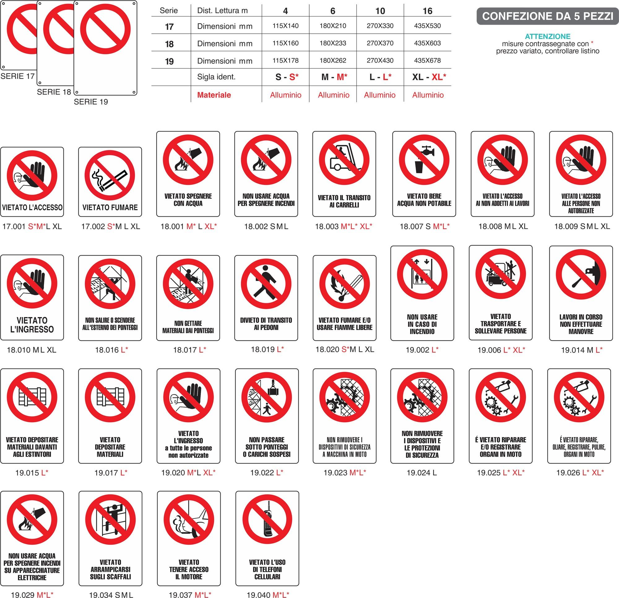 Cartelli di divieto con ausiliario su unico supporto